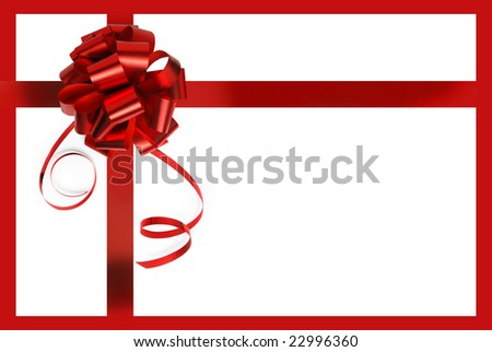 Big red holiday bow, isolated on white background