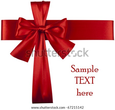 Big red holiday bow isolated on white background. Includes clipping path. - stock photo