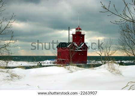 Big Red Lighthouse in a winter setting
