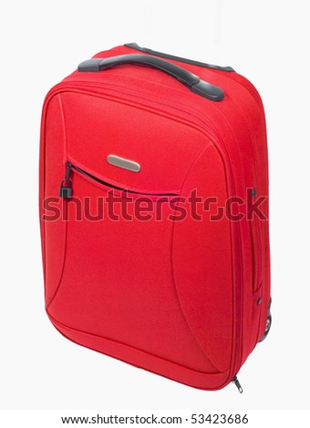 big red luggage bag isolated on white background