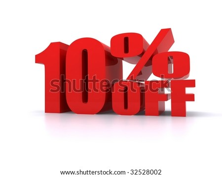 Big red 10% Off promotional sign - stock photo
