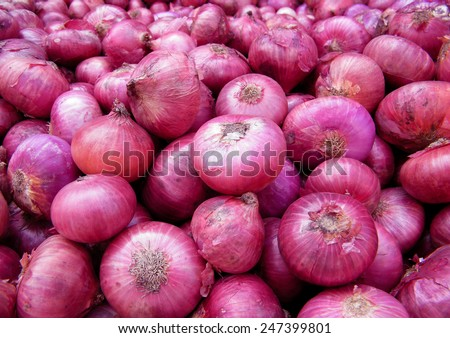 Big Red Onions Background - stock photo