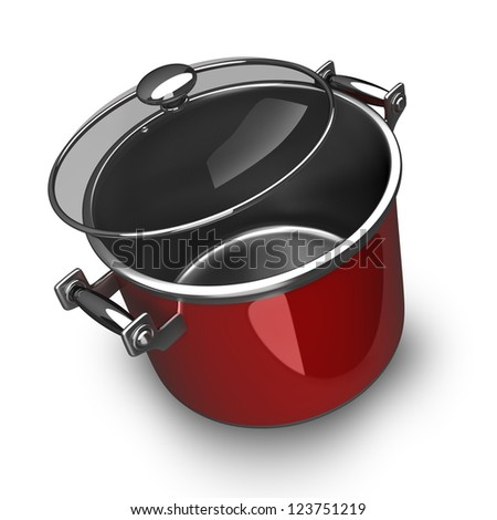 Big red Pan isolated on white background High resolution. 3D image