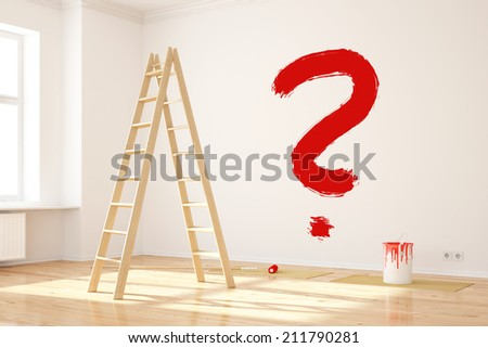 Big red question mark on wall in interior room while renovating - stock photo