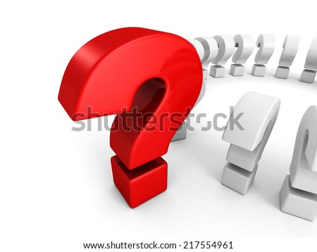 big red question mark on white background. 3d render illustration - stock photo