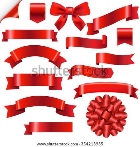 Big Red Ribbons Set  - stock photo
