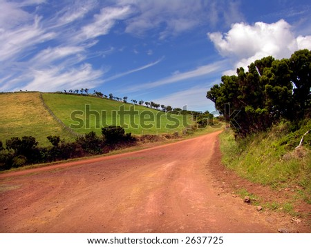 big red road in sao jorge island, azores - stock photo