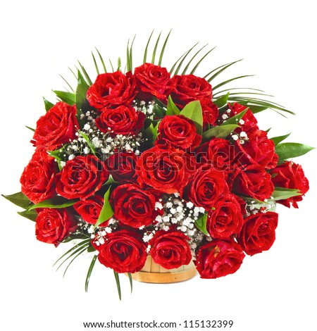 Big Red roses bouquet isolated on the white background - stock photo