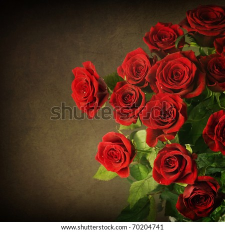 Big Red Roses Bouquet.Vintage Styled - stock photo