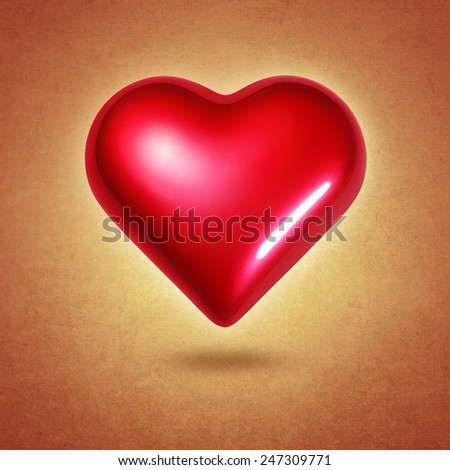 Big red shining heart hovering over textured yellow background - stock photo