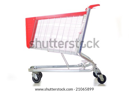 Big red shopping cart - stock photo