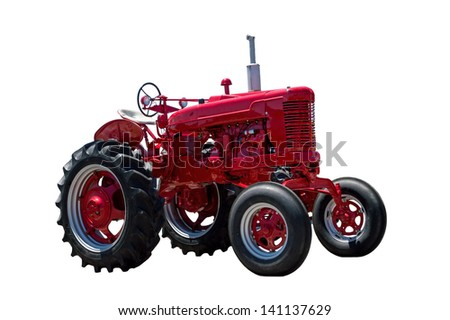 Big Red Tractor Isolated On White Background - stock photo