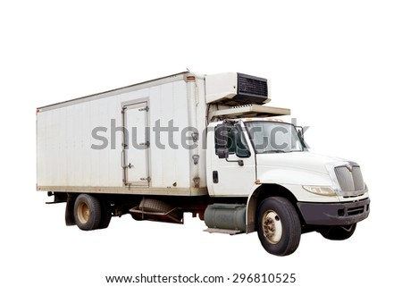 Big refrigerated truck isolated on a white background
