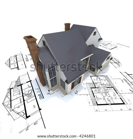 Big residential building with white façade and brick chimneys on top of architect blueprints - stock photo