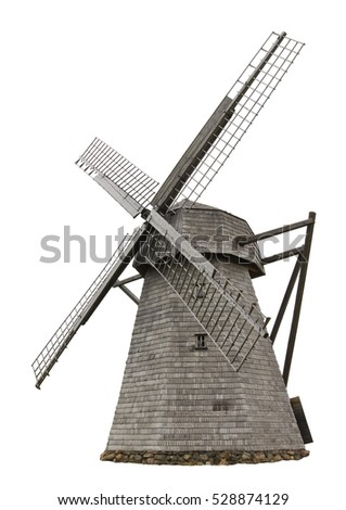 Big retro wooden closed wild mill isolated on white