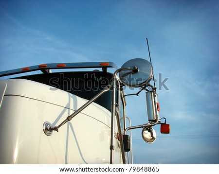 big rig truck cab from ground perspective - stock photo