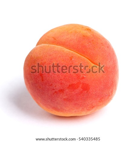 Big ripe apricot isolated on white background