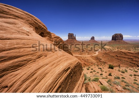 Big rock in Monument valley at the border of Utah and Arizona - stock photo
