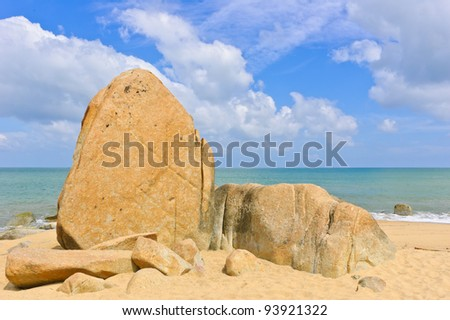 Big rocks on beach, Gulf of Thailand coast - stock photo