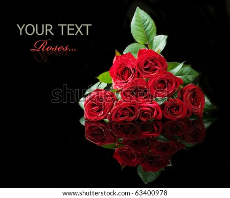 Big Roses Bouquet isolated on black - stock photo