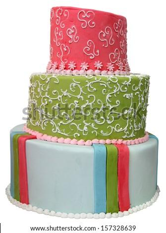 Big round colorful cake isolated on white background - stock photo