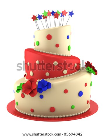 big round red and yellow cake isolated on white background - stock photo