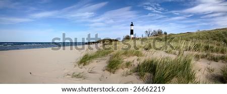Big Sable Point Lighthouse And Lake Michigan, Michigan's Lower Peninsula - stock photo
