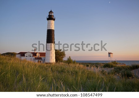 Big Sable Point Lighthouse. Image of the Big Sable Point Lighthouse, Michigan, USA. - stock photo