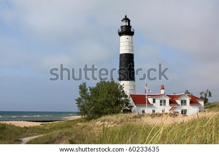 Big Sable Point Lighthouse located in Michigan, on Lake Michigan. - stock photo
