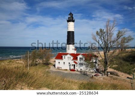 Big Sable Point Lighthouse, Ludington, Michigan - stock photo
