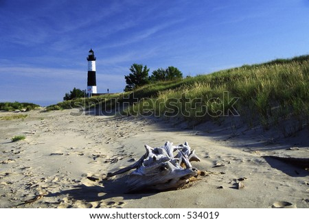 Big Sable Point Lighthouse on Lake Michigan, in  Michigan. - stock photo