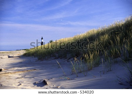 Big Sable Point Lighthouse on Lake Michigan in  Michigan. - stock photo