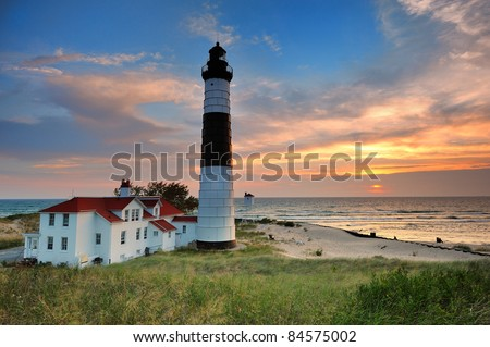 Big Sable Point Lighthouse sunset - Ludington , Michigan - stock photo