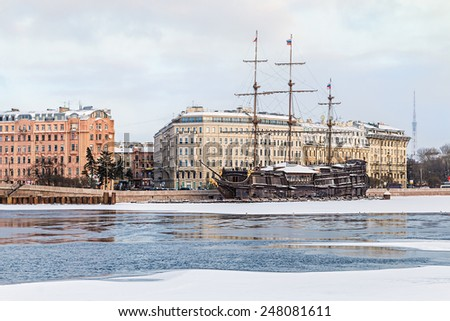 big sailing-ship at the harbor in winter, st.petersburg, russia - stock photo