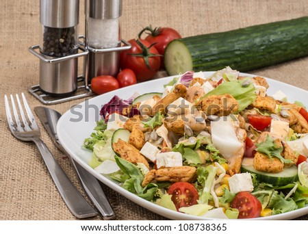 Big Salad with Chicken and Cheese on brown background - stock photo