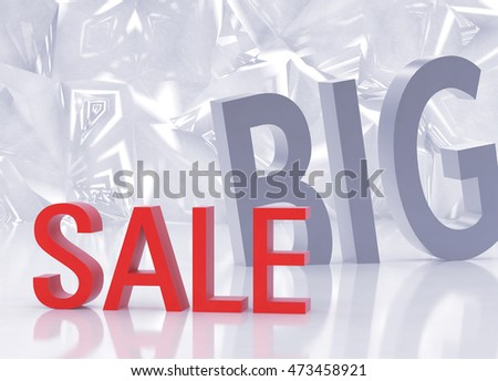 Big sale, abstract ice background. 3D rendering