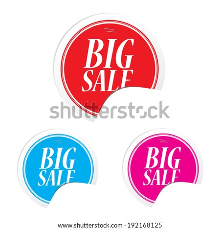 Big sale colorful circle sticker and label  - stock photo