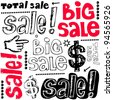 big sale crazy doodles isolated on white background - stock photo