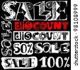 big sale crazy doodles isolated on white background - stock photo
