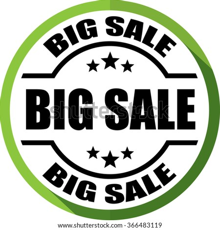Big sale green, Button, label and sign.
