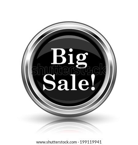 Big sale icon. Metallic internet button on white background.  - stock photo