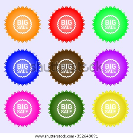 Big sale icon sign. A set of nine different colored labels. illustration