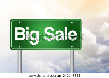 Big Sale, Just Ahead Green Road Sign, business concept - stock photo