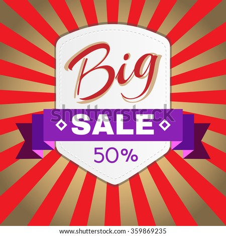 Big Sale Percentage Discount Flyer Raster Illustration. Percentage Discount. Holiday Hot Vacation Card. Market Shop Goods Sale Banner. - stock photo