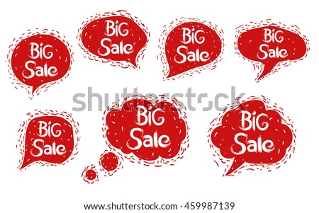 Big Sale. Set speech bubble with texture. Isolated red batter form on a white background.