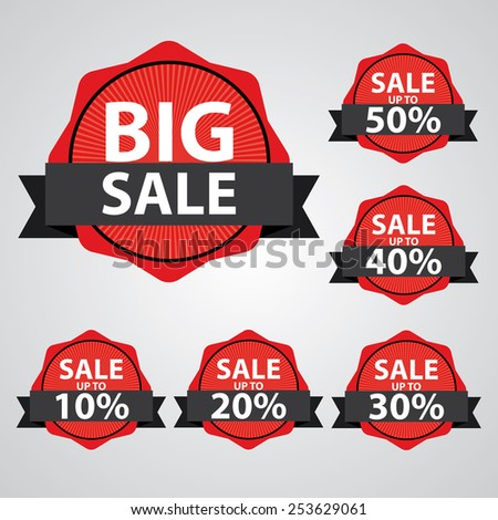 Big Sale tags with Sale up to 10 - 50 percent text on tags, labels, stickers and symbols with black ribbon - stock photo