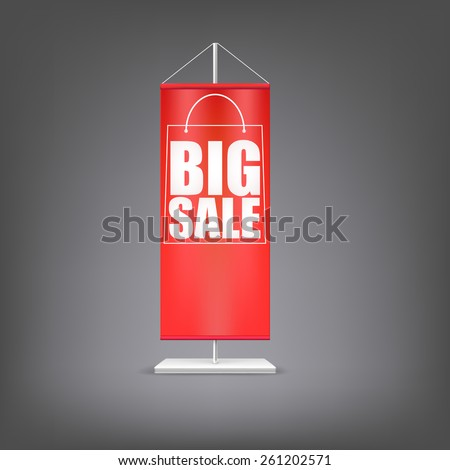 Big sale. Vertical red flag at the pillar. Advertising for your business events. - stock photo
