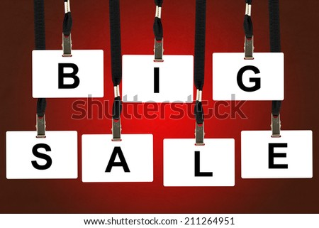 big sale word on badge with red background - stock photo