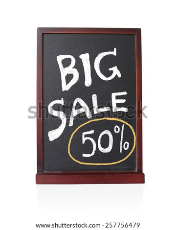 Big sale 50 % written on chalkboard isolated object - stock photo