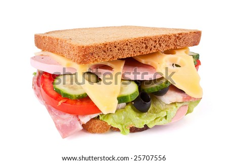 big sandwich - cheese, meat and vegetables - isolated - stock photo